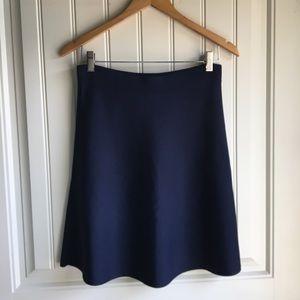 Cabi Navy Silk Knit A line Skirt